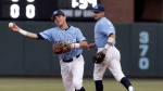 North Carolina shortstop Logan Warmoth (7) throws out a Davidson runner during the first inning of an NCAA college baseball tournament regional game in Chapel Hill, N.C., on June 4, 2017. (Gerry Broome/The Canadian Press)