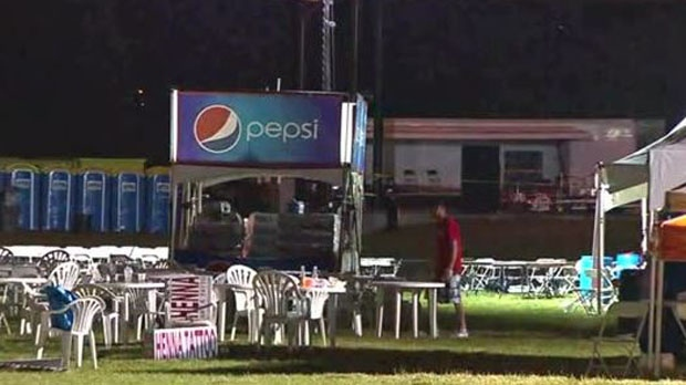 Two men are seriously injured after a light standard came crashing down on top of them at Beaches Rib Fest on Friday night. (CP24)