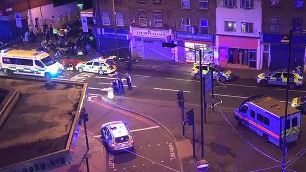 Numerous police and paramedic vehicles are seen in the Finsbury Park area of London on June 19, 2017 after a van struck numerous pedestrians. (Twitter/@realhumanrights)