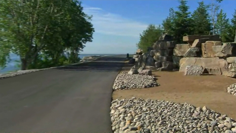 The William G. Davis recreational trail is pictured at a reopened section of Ontario Place.