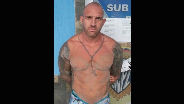 Steven Douglas Skinner is shown after being arrested in Playa El Yaque, on Margarita Island in Venezuela, in this recent police handout photo posted on Twitter by Cuerpo de Investigaciones Cientificas, Penales y Criminalisticas (CICPC) director Douglas Rico. THE CANADIAN PRESS/HO - CICPC