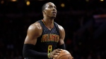 In this March 29, 2017, file photo, Atlanta Hawks' Dwight Howard prepares to shoot a free throw during the team's NBA basketball game against the Philadelphia 76ers in Philadelphia. (AP Photo/Matt Slocum, File)