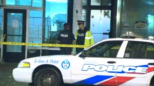 Police officers are shown investigating at the scene of a stabbing at Warden Station in the early hours of Friday morning.