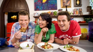 "In this undated photo released by Foxtel, Darren Simpson, right, poses with his co-hosts and fellow chefs Anna Gare and Ben O'Donoghue for their cooking show ""The Best in Australia."" Simpson, who at 21 became Britain's youngest ever Young Chef of the Year and has been a television chef and food writer, died in Australia on Thursday, June 22, 2017. (Foxtel via AP)"