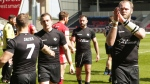 Veteran Wolfpack forward Richard Whiting, right, applauds fans after Toronto's Ladbrokes Challenge Cup rugby action loss to the Salford red Devils in Salford, England on April 23, 2017. THE CANADIAN PRESS/HO-Touchlinepics.com-Stephen Gaunt