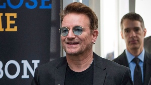 In this Sept. 17, 2016 file photo, Bono arrives at the Global Fund conference in Montreal. (Paul Chiasson/The Canadian Press via AP, File)
