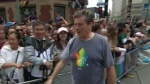 Mayor John Tory takes part in the Toronto Pride Parade Sunday June 25, 2017.
