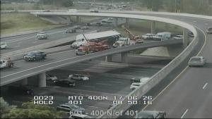 highway 401, closure, highway 400, truck, crash