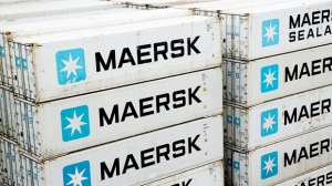 In this Jan. 31, 2014, file photo of A.P. Moller-Maersk containers on a ship in the Panama Canal. Hackers Tuesday June 27, 2017  caused widespread disruption across Europe, hitting Ukraine especially hard.  Russia's Rosneft energy company also reported falling victim to hacking, as did shipping company A.P. Moller-Maersk, which said every branch of its business was affected. (Thomas Borberg/Polfoto via AP,file)