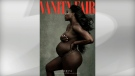 Tennis star Serena Williams bares her nude baby bump on the August cover of Vanity Fair.