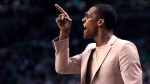 Chicago Bulls guard Rajon Rondo calls to his teammates from the bench during the second quarter of a first-round NBA playoff basketball game against the Boston Celtics in Boston, Wednesday, April 26, 2017. (AP Photo/Charles Krupa)