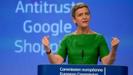 European Union Commissioner for Competition Margrethe Vestager speaks during a media conference at EU headquarters in Brussels on Tuesday, June 27, 2017.  (AP Photo/Virginia Mayo)