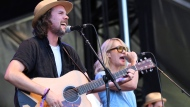 Kevin Drew, left, and Emily Haines of Broken Social Scene perform on day one of the inaugural 2017 Arroyo Seco Music Festival on Saturday, June 24, 2017, in Pasadena, Calif. (Joseph Longo/The Canadian Press)