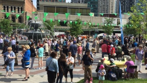 Hundreds of city officials, community members and residents gathered at Berczy Park in the St. Lawrence district for the grand re-opening of the refurbished space. (Friends of Berczy Park/Facebook)