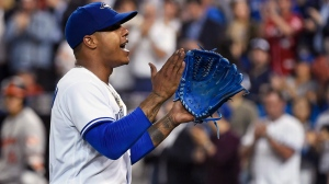 Toronto Blue Jays starting pitcher Marcus Stroman (6) acknowledges the crowd after being taken out of the game against the Baltimore Orioles during eighth inning AL baseball action in Toronto on Wednesday, June 28, 2017. (Nathan Denette/The Canadian Press)