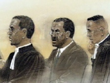 Johnson Aziga and his defence team are shown in this undated courtroom sketch.