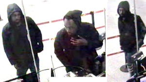Security camera images show the main suspect in a June 25 robbery at Victoria Park Station. (TPS)
