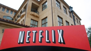 This Jan. 29, 2010 file photo, shows the company logo and view of Netflix headquarters in Los Gatos, Calif. Netflix Inc. (Marcio Jose Sanchez/AP Photo)