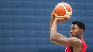 R.J. Barrett practices his shot with members of the U19 basketball Canada team during practice in Mississauga, Ont., on Tuesday, June 20, 2017. THE CANADIAN PRESS/Nathan Denette