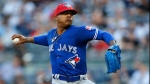 Toronto Blue Jays starting pitcher Marcus Stroman (6) delivers during the first inning of a baseball game in New York, Monday, July 3, 2017. (AP Photo/Kathy Willens)