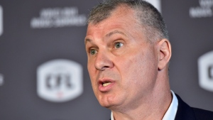 Randy Ambrosie speaks during a press conference in Toronto, Wednesday July 5, 2017. The CFL says Ambrosie will serve as the 14th commissioner in league history. THE CANADIAN PRESS/Frank Gunn