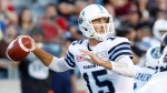 Toronto Argonauts quarterback Ricky Ray (15) throws the ball during the first half of CFL football action against the Ottawa Redblacks in Ottawa on Saturday, July 8, 2017. THE CANADIAN PRESS/ Patrick Doyle