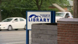 A Toronto Public Library sign is pictured.