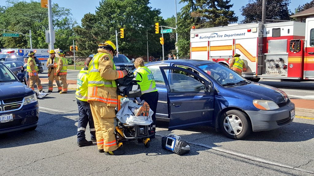 Emergency crews arrived at the scene of nine-vehicle crash in Burlington on Friday, July 14. (Dave Ritchie)