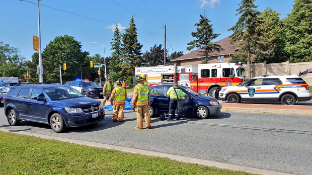 One person is in custody after failing to remain at the scene of multi-vehicle crash in Burlington on Friday.