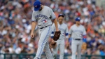 Toronto Blue Jays pitcher Mike Bolsinger walks on the mound after giving up a two-run home run to Detroit Tigers' Miguel Cabrera during the sixth inning of a baseball game, Saturday, July 15, 2017, in Detroit. (AP Photo/Carlos Osorio)