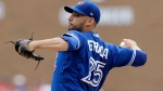 Toronto Blue Jays starting pitcher Marco Estrada throws during the first inning of a baseball game against the Detroit Tigers, Sunday, July 16, 2017, in Detroit. (AP Photo/Carlos Osorio)