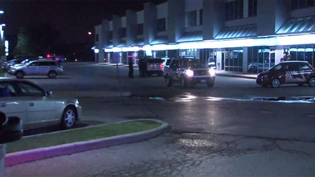 Police are searching for a suspect after three people were injured in a shooting outside a Woodbridge lounge.