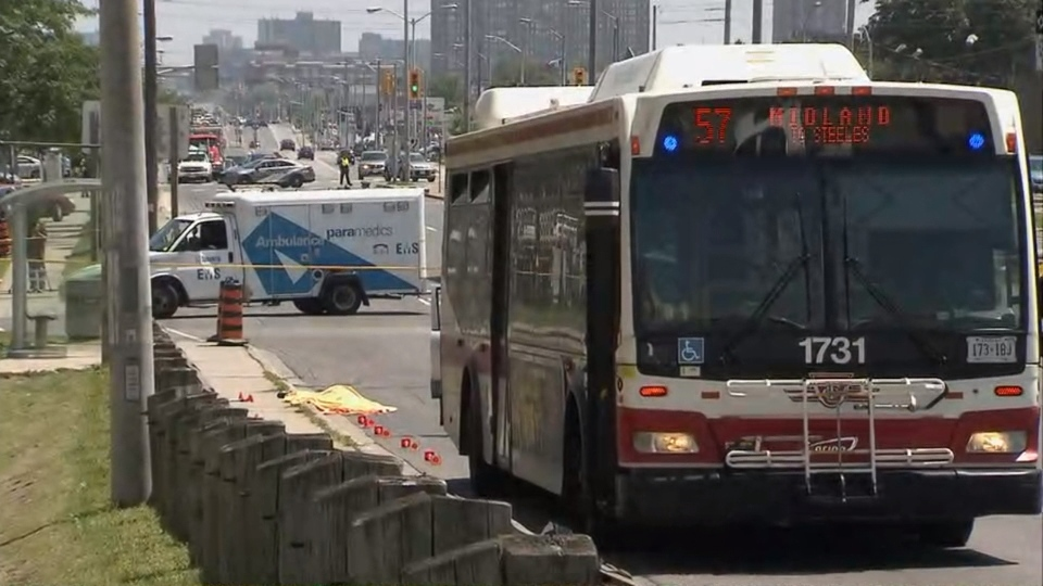 A TTC bus involved in a fatal collision is shown.