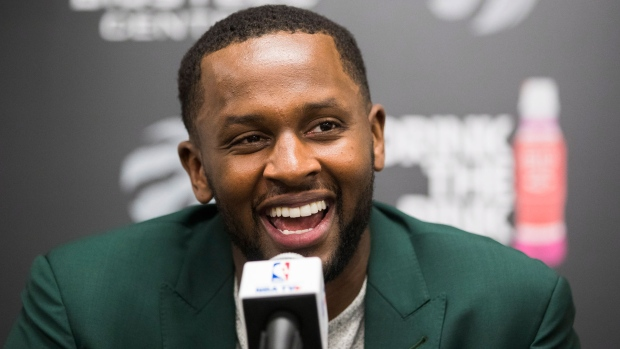 Newly acquired Toronto Raptors player C.J. Miles speaks in during a press conference in Toronto, Tuesday July 18, 2017. THE CANADIAN PRESS/Mark Blinch
