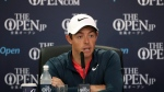 Northern Ireland's Rory McIlroy speaks during a press conference ahead of the British Open Golf Championship, at Royal Birkdale, Southport, England Wednesday, July 19, 2017. (AP Photo/Peter Morrison)