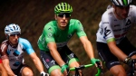 Germany's Marcel Kittel, wearing the best sprinter's green jersey rides in the pack during the twelfth stage of the Tour de France cycling race over 214.5 kilometers (133.3 miles) with start in Pau and finish in Peyragudes, France,Thursday, July 13, 2017. (AP Photo/Peter Dejong)