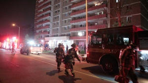 One woman was transported to hospital following a two-alarm fire at an Etobicoke apartment building. (John Hanley/ CP24)