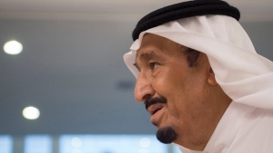 This June 6, 2017 file photo released by Saudi Press Agency, SPA, shows Saudi King Salman, in Jiddah, Saudi Arabia. Saudi Arabia's state TV said Thursday, July 20, 2017, that Salman has ordered the arrest of a young, low-level prince after video emerged online purporting to show him abusing someone. The arrest was made Wednesday morning, a day after a video was published on YouTube showing what appears to be a rifle pointed toward a man who is bleeding from the head and pleading. (Saudi Press Agency via AP, File)