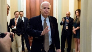 In this June 22, 2017, file photo Sen. John McCain, R-Ariz., arrives for a Senate Republican meeting on a health reform bill on Capitol Hill in Washington. McCain has been diagnosed with a brain tumor after doctors removed a blood clot above his left eye last week, his office said in a statement July 19. (AP Photo/Andrew Harnik, File)