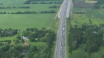 Cars stranded on Highway 400 are pictured in this aerial image.