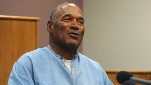 Former NFL football star O.J. Simpson appears via video for his parole hearing at the Lovelock Correctional Center in Lovelock, Nev., on Thursday, July 20, 2017. (Jason Bean/The Reno Gazette-Journal via AP, Pool)