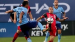 New York City FC midfielder Yangel Herrera (30) and Toronto FC forward Sebastian Giovinco (10) vie for control of the ball during first half MLS soccer action, in New York on Wednesday, July 19, 2017. Giovinco is dealing with a lower back bruise sustained in Wednesday's 2-2 tie at New York City FC, and is questionable for TFC's game against the visiting Colorado Rapids. THE CANADIAN PRESS/AP-Julie Jacobson