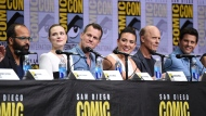 "Jeffrey Wright, from left, Evan Rachel Wood, Jonathan Nolan, Lisa Joy, Ed Harris, and James Marsden attend the ""Westworld"" panel on day three of Comic-Con International on Saturday, July 22, 2017, in San Diego. (Photo by Richard Shotwell/Invision/AP)"