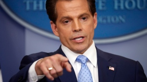 New White House communications director Anthony Scaramucci speaks to members of the media in the Brady Press Briefing room of the White House in Washington, Friday, July 21, 2017. (AP Photo/Pablo Martinez Monsivais)