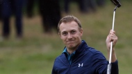 Jordan Spieth of the United States celebrates winning the British Open Golf Championships at Royal Birkdale, Southport, England, Sunday July 23, 2017. (AP Photo/Peter Morrison)