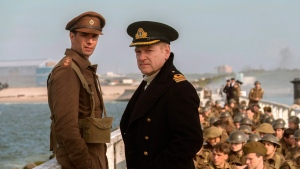 "This image released by Warner Bros. Pictures shows James D'Arcy, left, and Kenneth Branagh in a scene from ""Dunkirk."" (Melissa Sue Gordon/Warner Bros. Pictures via AP)"