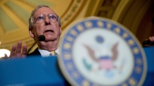 In this July 18, 2017 photo, Senate Majority Leader Mitch McConnell of Ky. speaks at a news conference on Capitol Hill in Washington. AP Photo/Andrew Harnik)