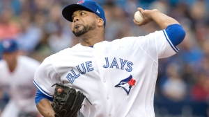 Toronto Blue Jays starting pitcher Francisco Liriano throws against the Oakland Athletics during first inning AL MLB baseball action in Toronto, Monday, July 24, 2017. THE CANADIAN PRESS/Fred Thornhill