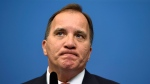 Sweden's Prime minister, Stefan Lofven reacts during a press conference at Rosenbad, the Swedish government headquarters, in Stockholm Thursday July 27, 2017. Prime minister Stefan Lofven announces the removal of two government ministers in response to a no-confidence motion by the opposition Alliance coalition, and Hultqvist will remain in the cabinet. (Erik Simander / TT via AP)