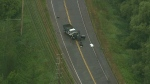 Two vehicles involved in a serious crash on Major MacKenzie Drive in Vaughan are shown in this aerial image.